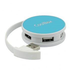 HUB USB COOLBOX  4 USB 2.0 ROUND AZUL COO-HU24SC-4UC