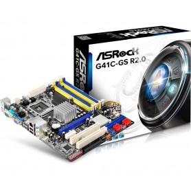 PLACA BASE S775 ASROCK G41C-GS R2.0 2DDR3 DDR2 PCI PCIE SATA IDE USB M-ATX