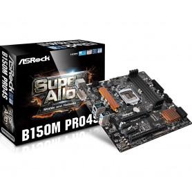 PLACA BASE S1151 ASROCK B150M PRO4S DDR4 PCIE SATA3 USB3 PCI DVI M-ATX