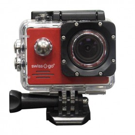 CAMARA VIDEO  DEPORTIVA SWISS-GO SG-1.8W FULL HD WIFI  ACCESORIOS ROJA