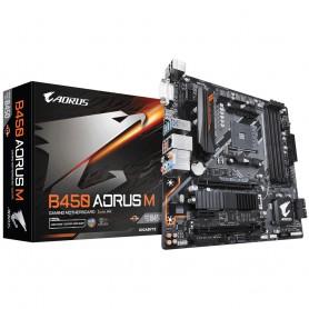PLACA BASE AMD SAM4 GIGABYTE B450 AORUS M 4DDR4 PCIE M2 4SATA3.1 DVI-D HDMI MATX