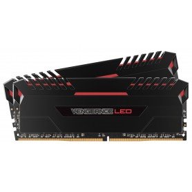 MEMORIA KIT DDR4  16GB(2X8GB) PC4-21300 2666MHZ CORSAIR VENGEANCE LED ROJO C16