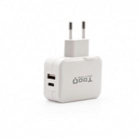 CARGADOR  USB-C TOOQ PARED DOBLE PUERTO USB-CUSB-A 27W BLANCO TQWC-2SC02WT