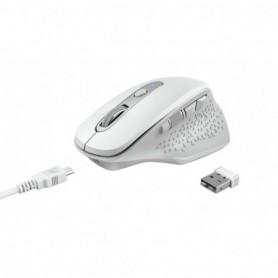 RATON TRUST INALAMBRICO OZAA WIRELESS ERGONOMICO RECARGABLE BLANCO USB 24035