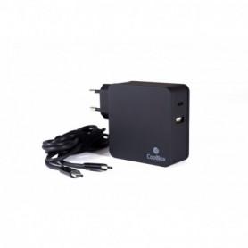 CARGADOR  USB-C COOLBOX DOBLE PUERTO USB-C  USB-A 60W NEGRO COO-NBUC-PD60