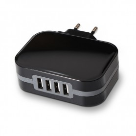 CARGADOR  USB TOOQ PARED 4XUSB 6.8 A(TOTAL) AI-TECH NEGRO TQWC-1S04