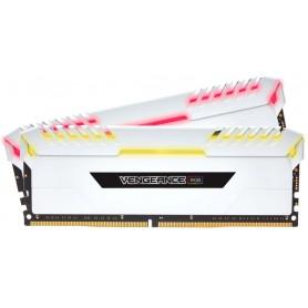 MEMORIA RAM KIT DDR4 16GB(2X8GB) PC4-25600 3200MHZ CORSAIR RGB LED VEN BLANCA