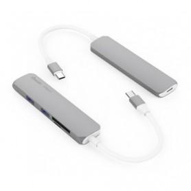 HUB USB-C SILVER HT 3 EN 1 USB-C 3.1 A (HDMI-3USB3.0-1USB C) DARK GREY