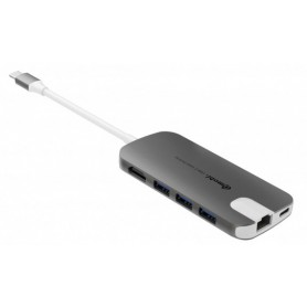 HUB USB-C SILVER HT 5 EN 1 USB-C 3.1 A(HDMI-USB3-USB C-MICROSDHC-SDHC-RJ45) GREY
