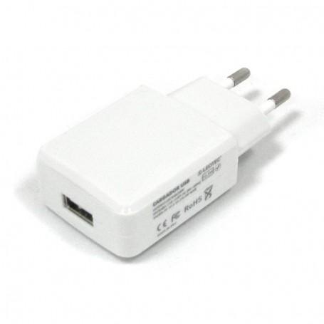 CARGADOR USB LEOTEC PARED  5V-2A 2CABLES 2.5X0.7 Y MICRUSB-USB BLAN LECTABUSBW