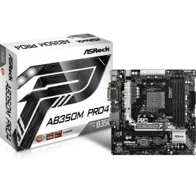 PLACA BASE AMD SAM4 ASROCK AB350M PRO4 DDR4 PCIE SATA3 2PCI HDMI DVI M-ATX