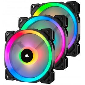 VENTILADOR CAJA ADICIONAL 12X12 CORSAIR LL120 RGB NEGRO PACK 3 UDS LIGTHING NODE