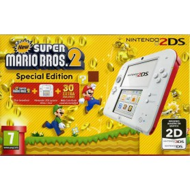 CONSOLA NINTENDO 2DS WHITE RED  SUPER MARIO BROS2 LAPIZ TARJETA4GB