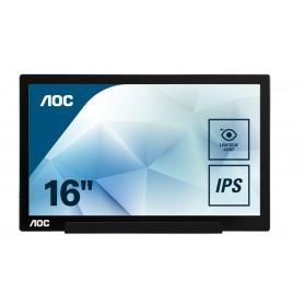 MONITOR 15.6 LED PORTATIL AOC I1601FWUX 1920X1080 PIVOTANTE USB-C NEGRO-PLATA