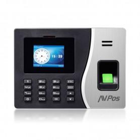 CONTROL DE PRESENCIA AVPOS CPB20 TERMINAL BIOMETRICO HUELLA TARJ RFID PIN USB RED