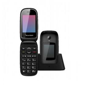TELEFONO  SENIOR CONCHA SUNSTECH CELT22 P2.4 DOBLE PANTALLA BT BOTON SOS NEGRO